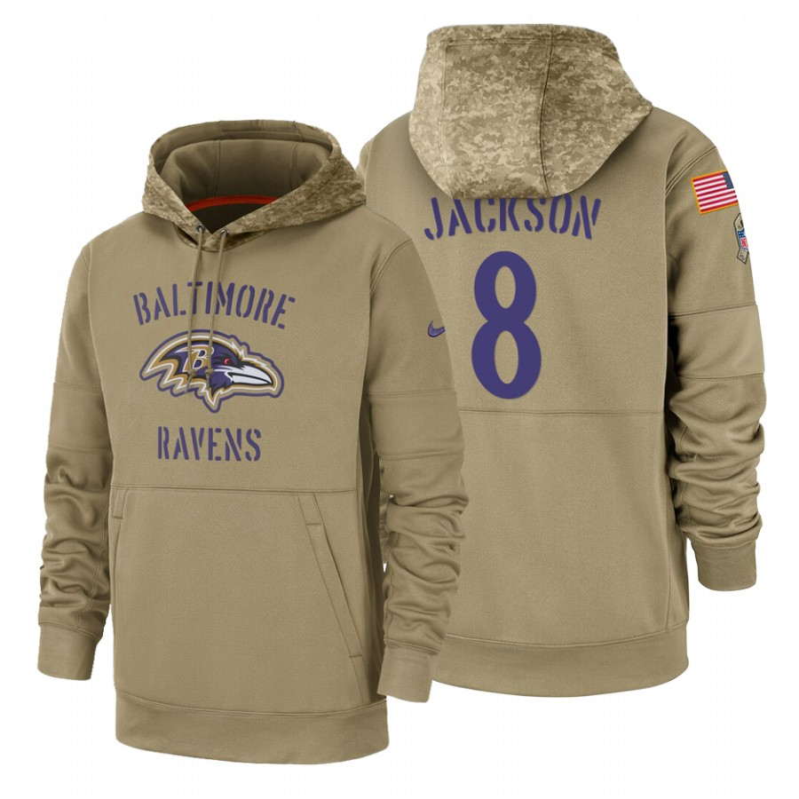 Baltimore Ravens #8 Lamar Jackson Nike Tan 2019 Salute To Service Name & Number Sideline Therma Pullover Hoodie