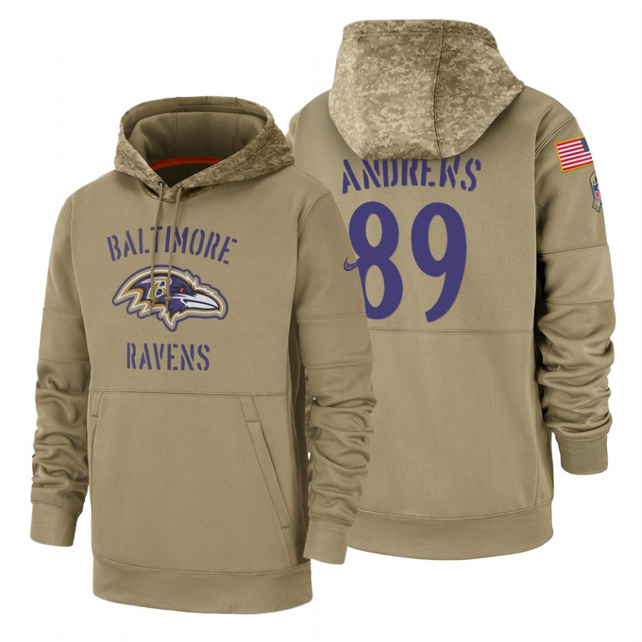 Baltimore Ravens #89 Mark Andrews Nike Tan 2019 Salute To Service Name & Number Sideline Therma Pullover Hoodie