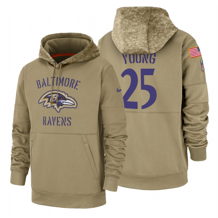 Baltimore Ravens #25 Tavon Young Nike Tan 2019 Salute To Service Name & Number Sideline Therma Pullover Hoodie