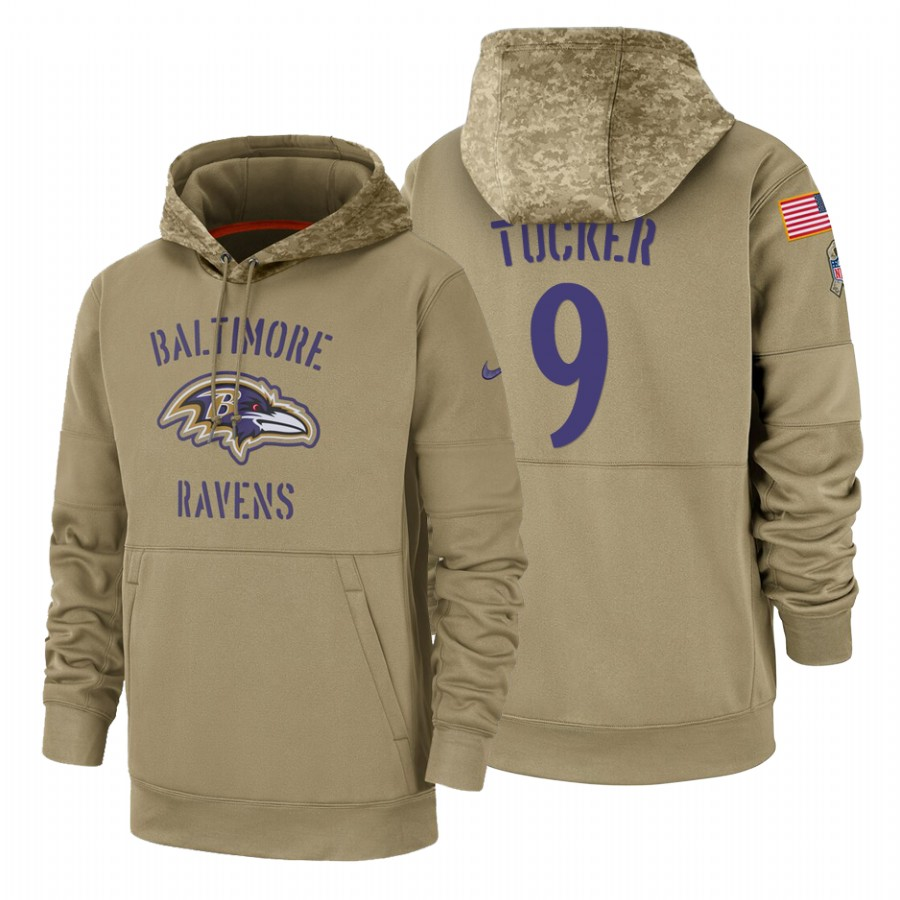Baltimore Ravens #9 Justin Tucker Nike Tan 2019 Salute To Service Name & Number Sideline Therma Pullover Hoodie