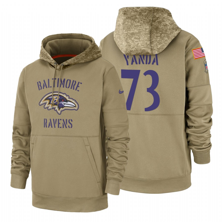 Baltimore Ravens #73 Marshal Yanda Nike Tan 2019 Salute To Service Name & Number Sideline Therma Pullover Hoodie