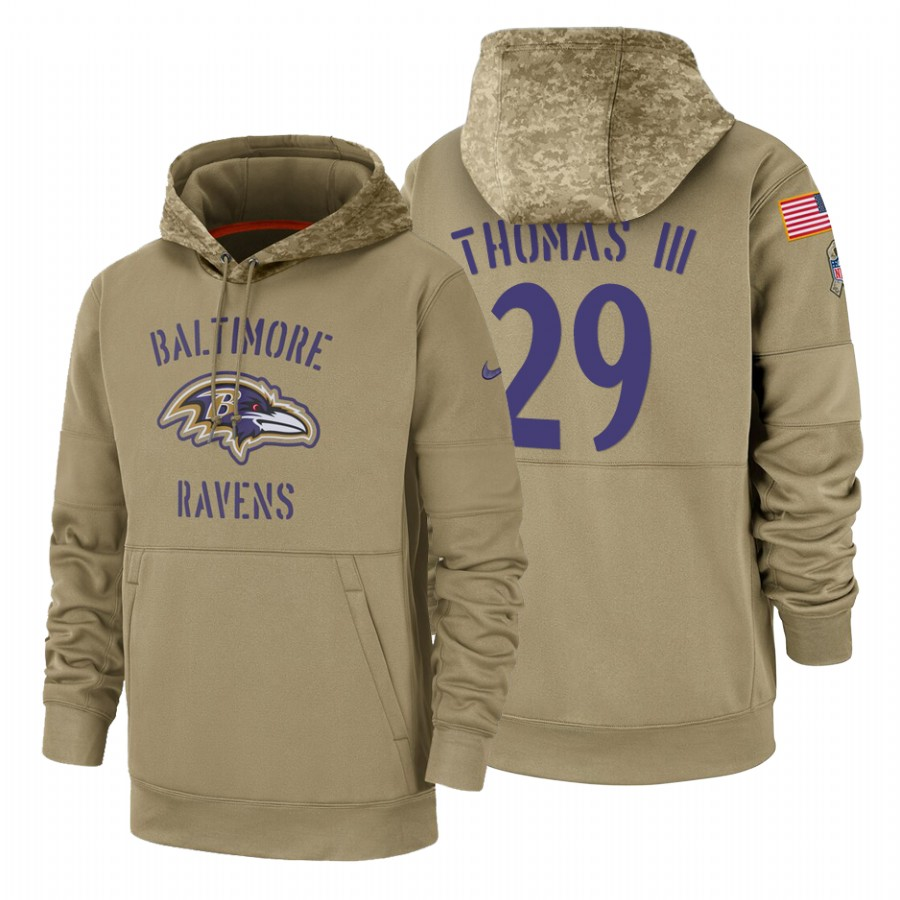 Baltimore Ravens #29 Earl Thomas III Nike Tan 2019 Salute To Service Name & Number Sideline Therma Pullover Hoodie