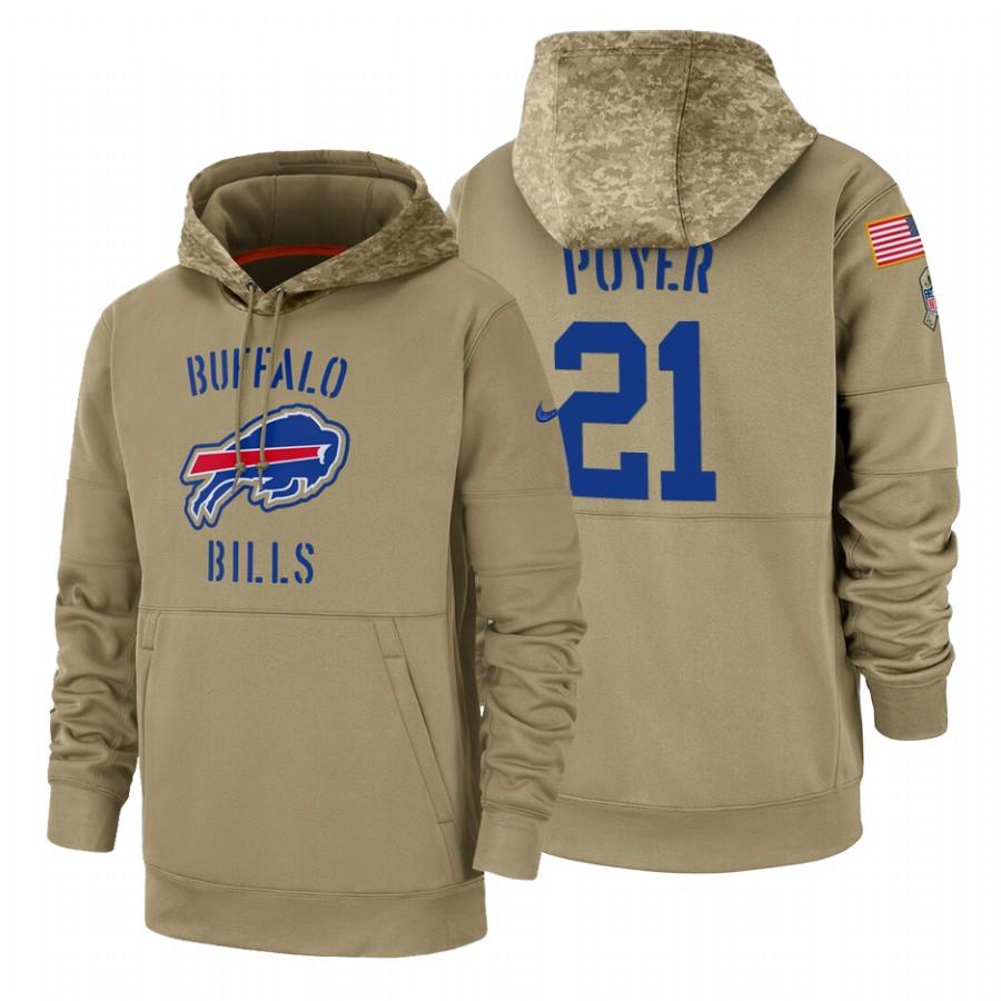 Buffalo Bills #21 Jordan Poyer Nike Tan 2019 Salute To Service Name & Number Sideline Therma Pullover Hoodie
