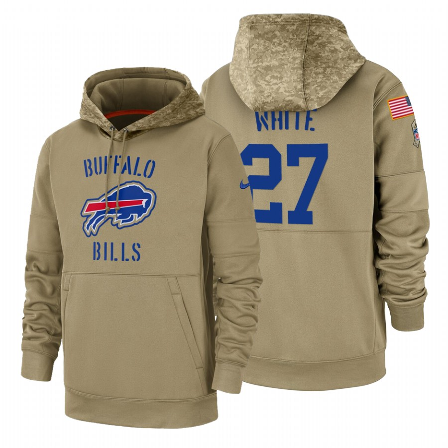 Buffalo Bills #27 Tre-Davious White Nike Tan 2019 Salute To Service Name & Number Sideline Therma Pullover Hoodie