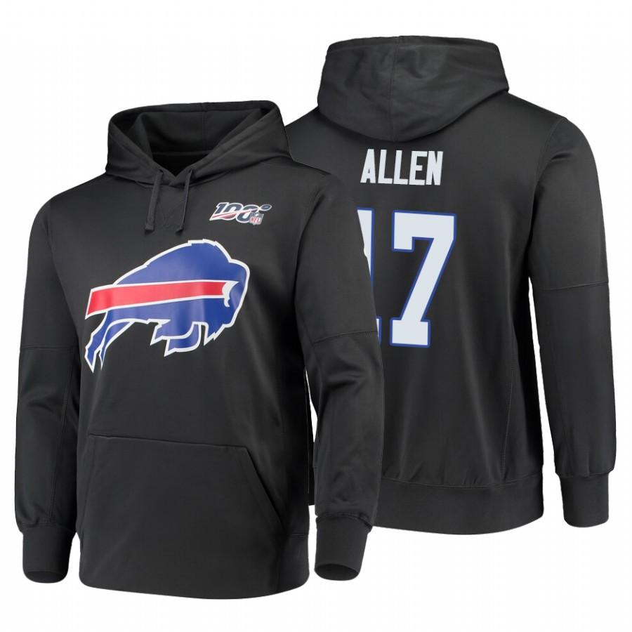Buffalo Bills #17 Josh Allen Nike NFL 100 Primary Logo Circuit Name & Number Pullover Hoodie Charcoal