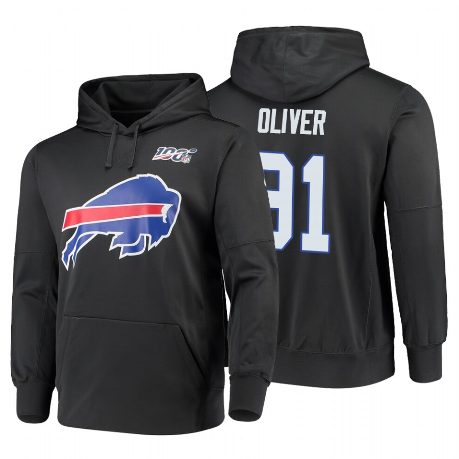 Buffalo Bills #91 Ed Oliver Nike NFL 100 Primary Logo Circuit Name & Number Pullover Hoodie Charcoal