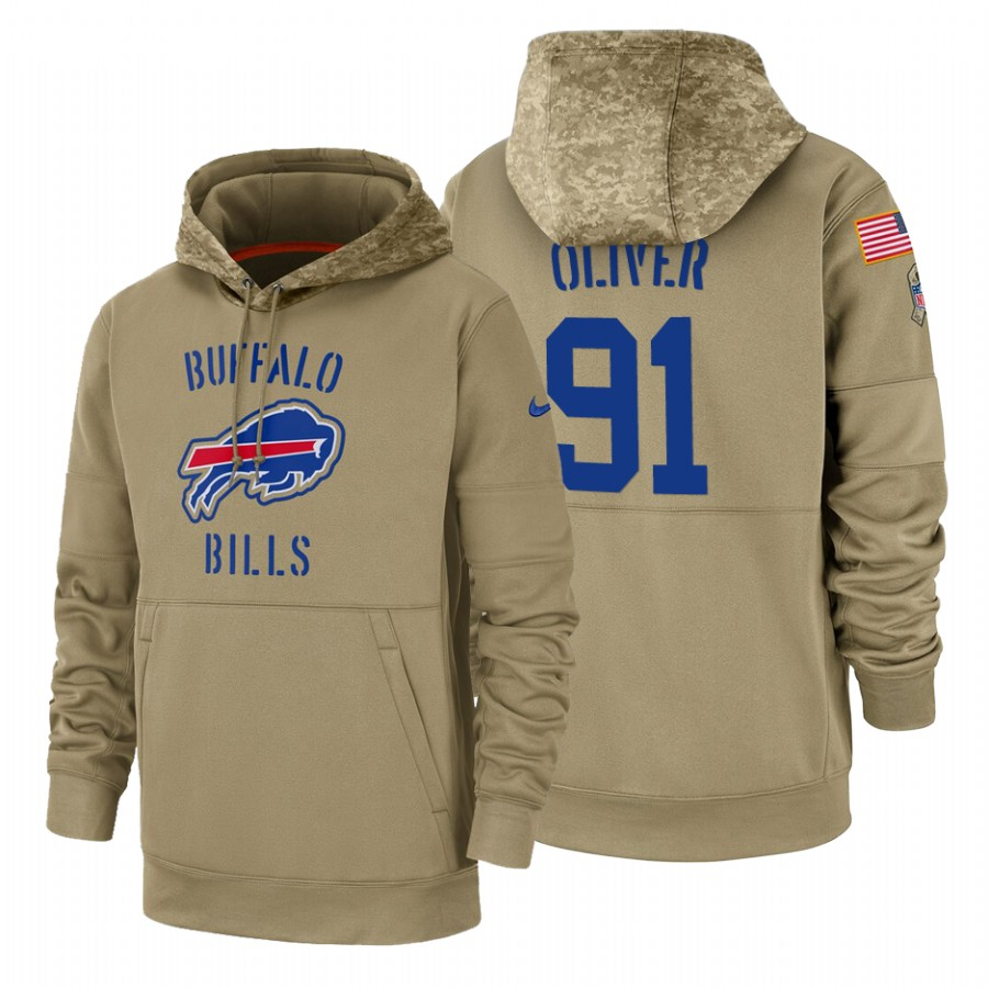 Buffalo Bills #91 Ed Oliver Nike Tan 2019 Salute To Service Name & Number Sideline Therma Pullover Hoodie