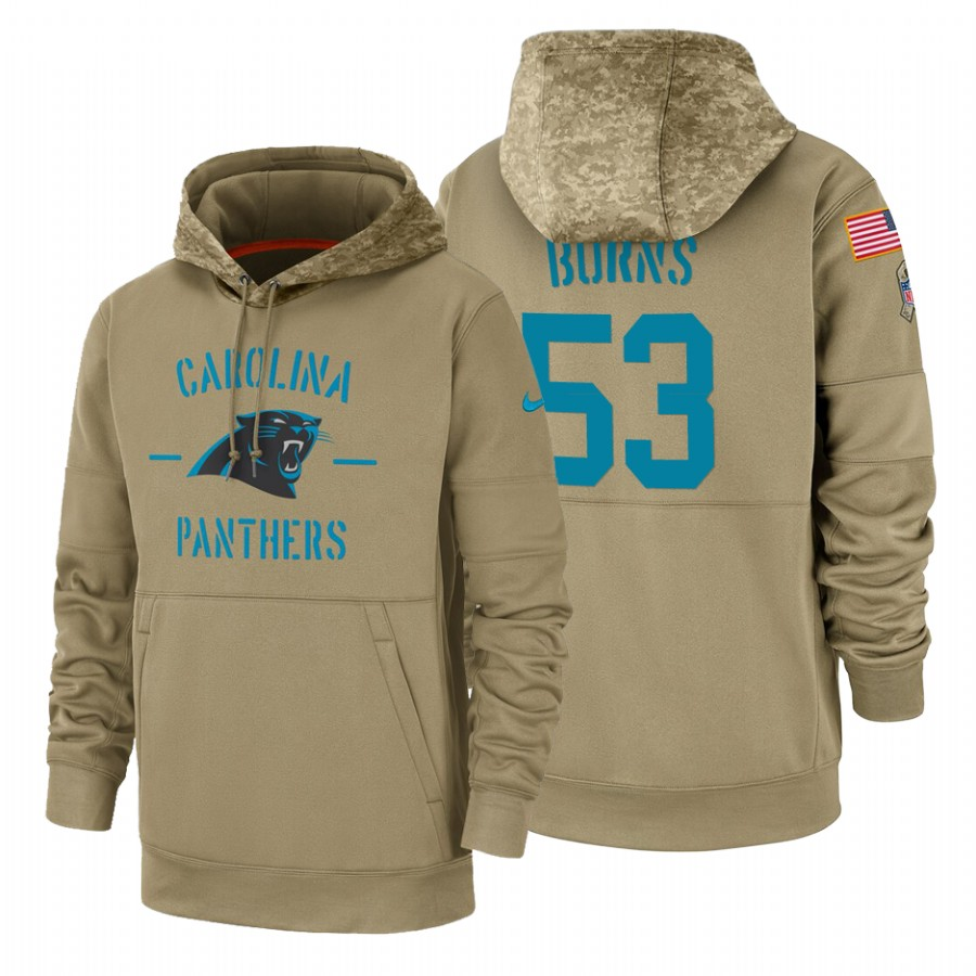Carolina Panthers #53 Brian Burns Nike Tan 2019 Salute To Service Name & Number Sideline Therma Pullover Hoodie