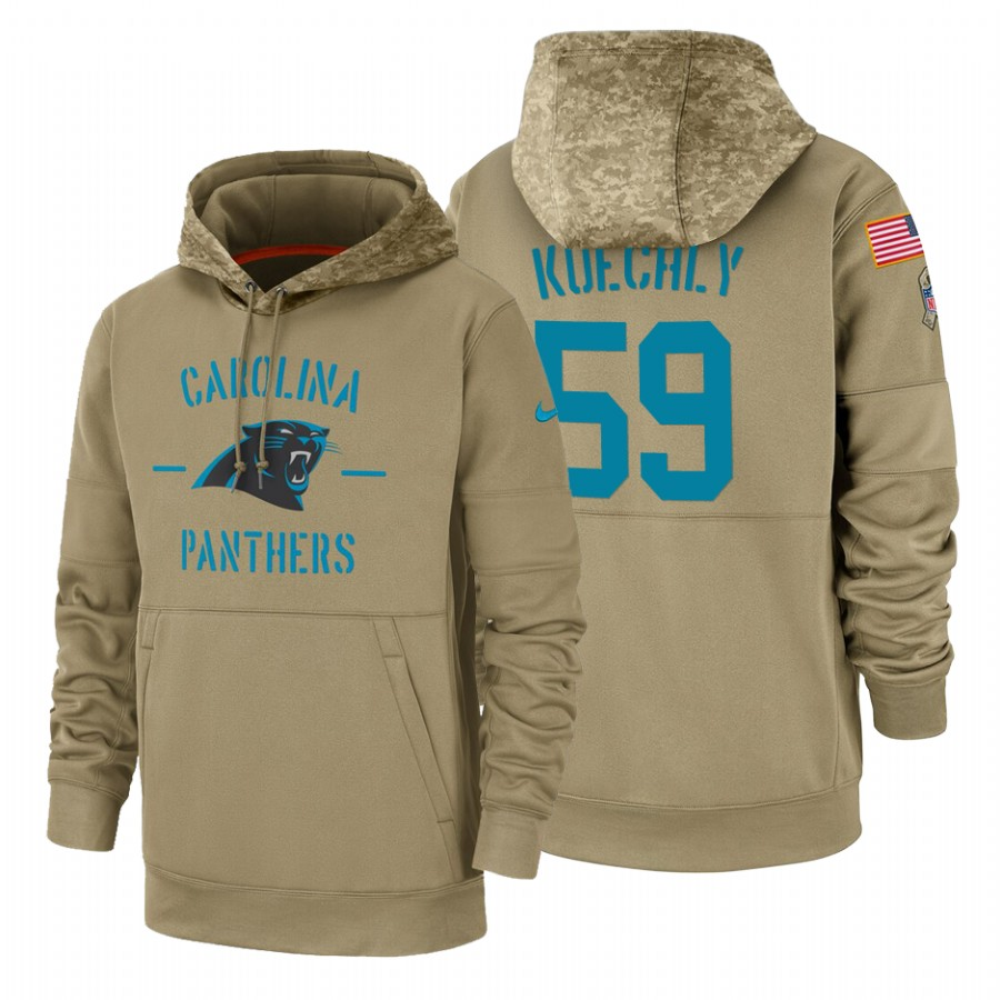 Carolina Panthers #59 Luke Kuechly Nike Tan 2019 Salute To Service Name & Number Sideline Therma Pullover Hoodie