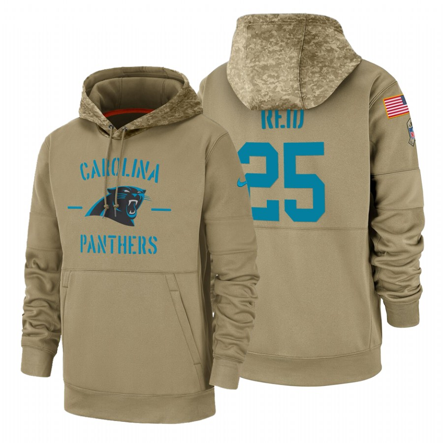 Carolina Panthers #25 Eric Reid Nike Tan 2019 Salute To Service Name & Number Sideline Therma Pullover Hoodie