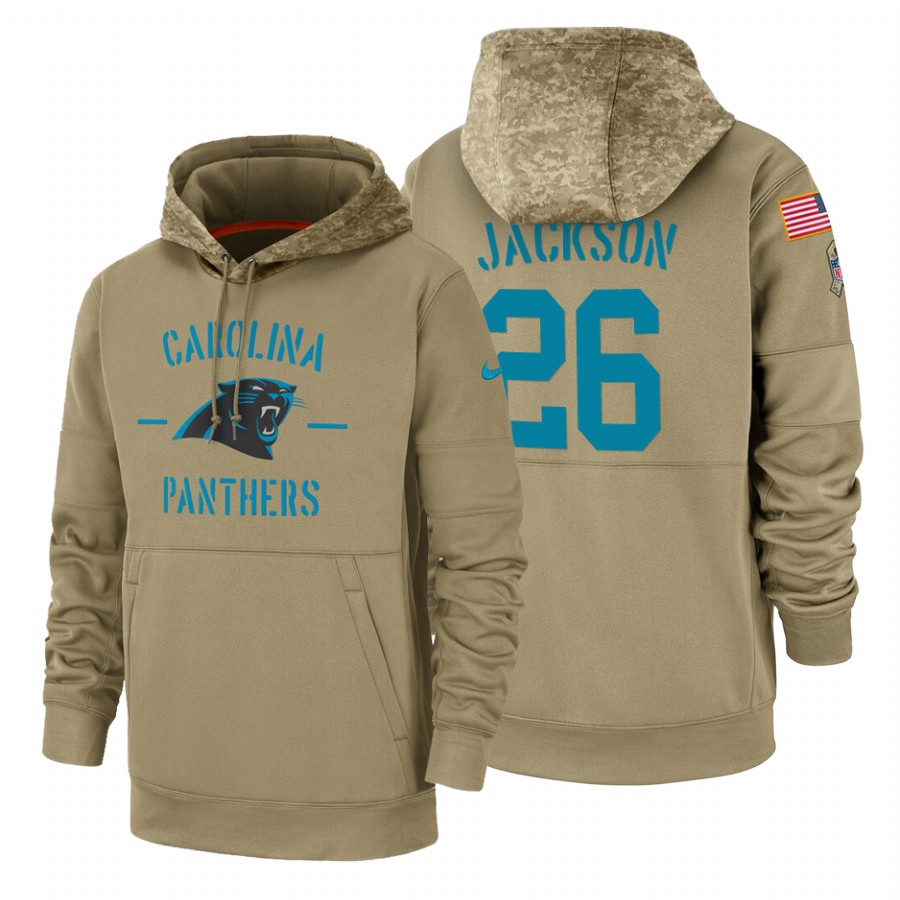 Carolina Panthers #26 Donte Jackson Nike Tan 2019 Salute To Service Name & Number Sideline Therma Pullover Hoodie