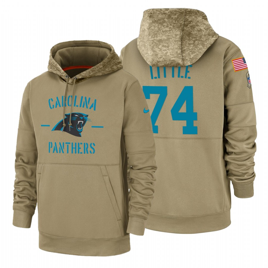 Carolina Panthers #74 Greg Little Nike Tan 2019 Salute To Service Name & Number Sideline Therma Pullover Hoodie