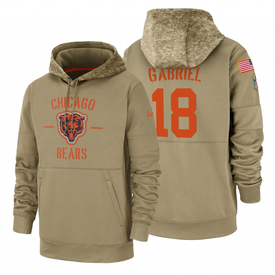 Chicago Bears #18 Taylor Gabriel Nike Tan 2019 Salute To Service Name & Number Sideline Therma Pullover Hoodie