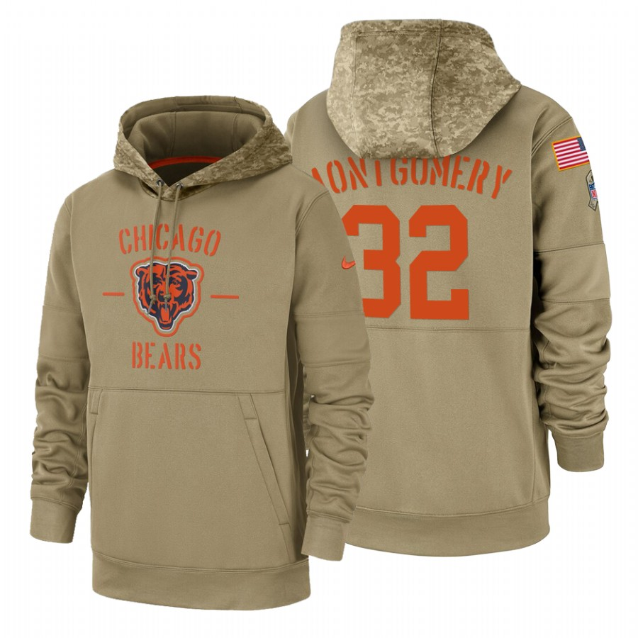 Chicago Bears #32 David Montgomery Nike Tan 2019 Salute To Service Name & Number Sideline Therma Pullover Hoodie
