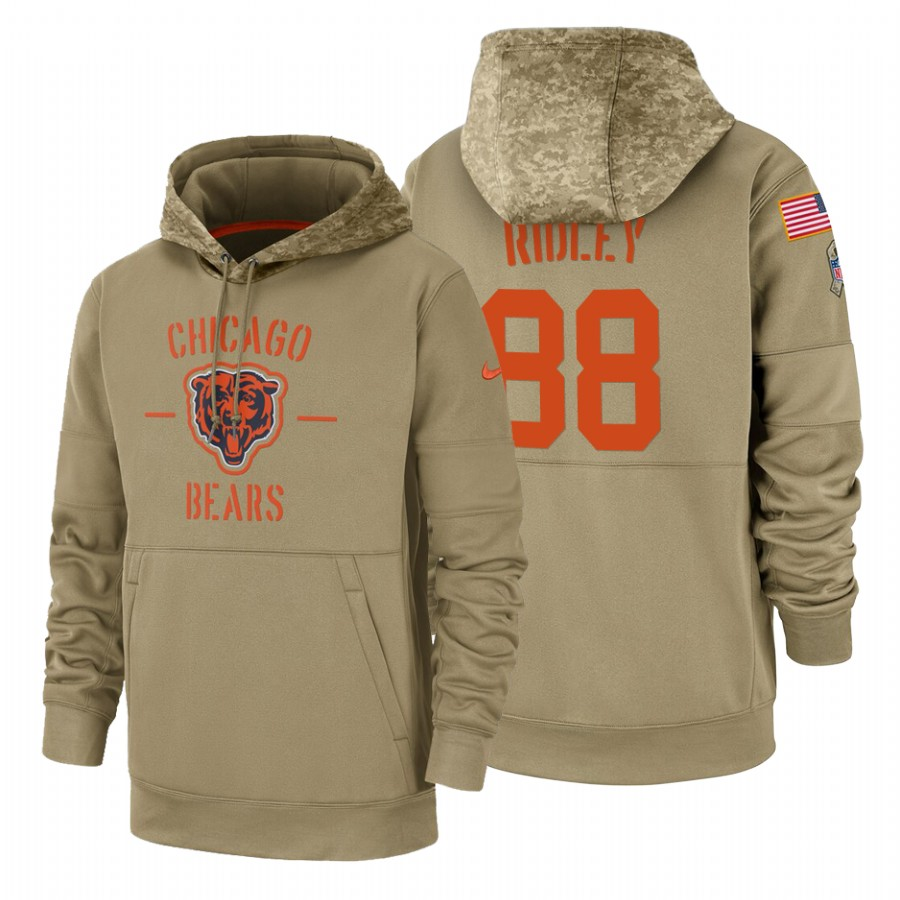 Chicago Bears #88 Riley Ridley Nike Tan 2019 Salute To Service Name & Number Sideline Therma Pullover Hoodie