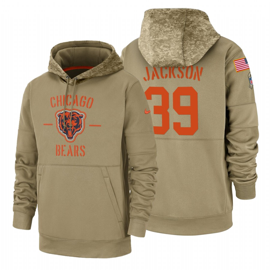Chicago Bears #39 Eddie Jackson Nike Tan 2019 Salute To Service Name & Number Sideline Therma Pullover Hoodie