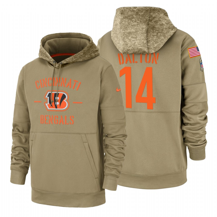 Cincinnati Bengals #14 Andy Dalton Nike Tan 2019 Salute To Service Name & Number Sideline Therma Pullover Hoodie