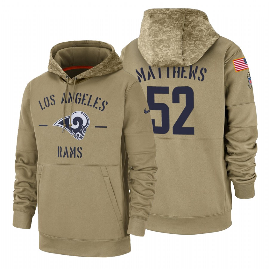 Los Angeles Rams #52 Clay Matthews Nike Tan 2019 Salute To Service Name & Number Sideline Therma Pullover Hoodie