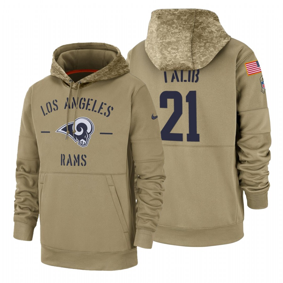 Los Angeles Rams #21 Aqib Talib Nike Tan 2019 Salute To Service Name & Number Sideline Therma Pullover Hoodie