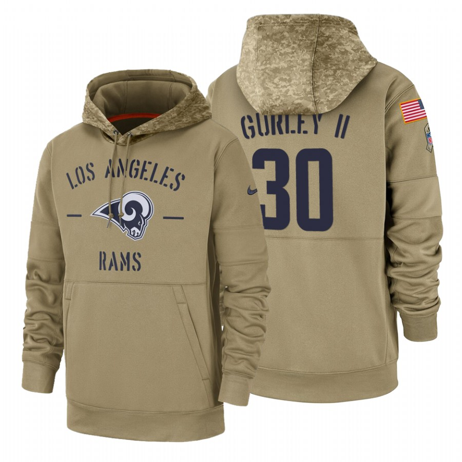 Los Angeles Rams #30 Todd Gurley II Nike Tan 2019 Salute To Service Name & Number Sideline Therma Pullover Hoodie