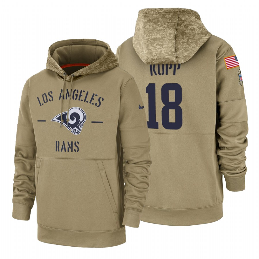 Los Angeles Rams #18 Cooper Kupp Nike Tan 2019 Salute To Service Name & Number Sideline Therma Pullover Hoodie