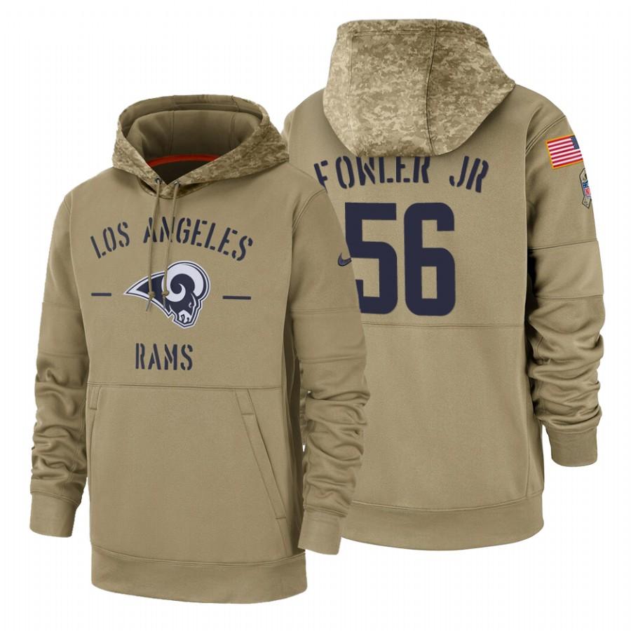 Los Angeles Rams #56 Dante Fowler Jr Nike Tan 2019 Salute To Service Name & Number Sideline Therma Pullover Hoodie