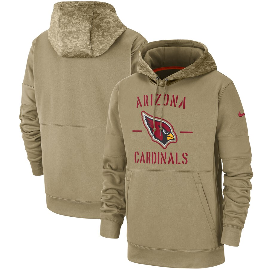 Men's Arizona Cardinals Nike Tan 2019 Salute to Service Sideline Therma Pullover Hoodie
