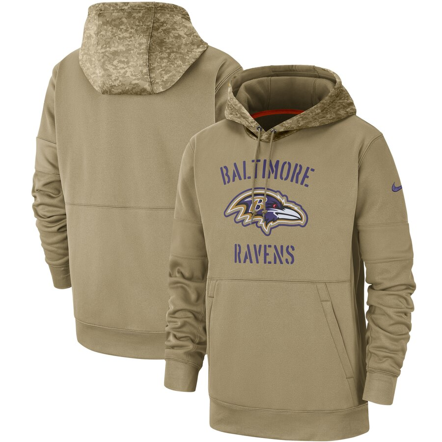 Men's Baltimore Ravens Nike Tan 2019 Salute to Service Sideline Therma Pullover Hoodie
