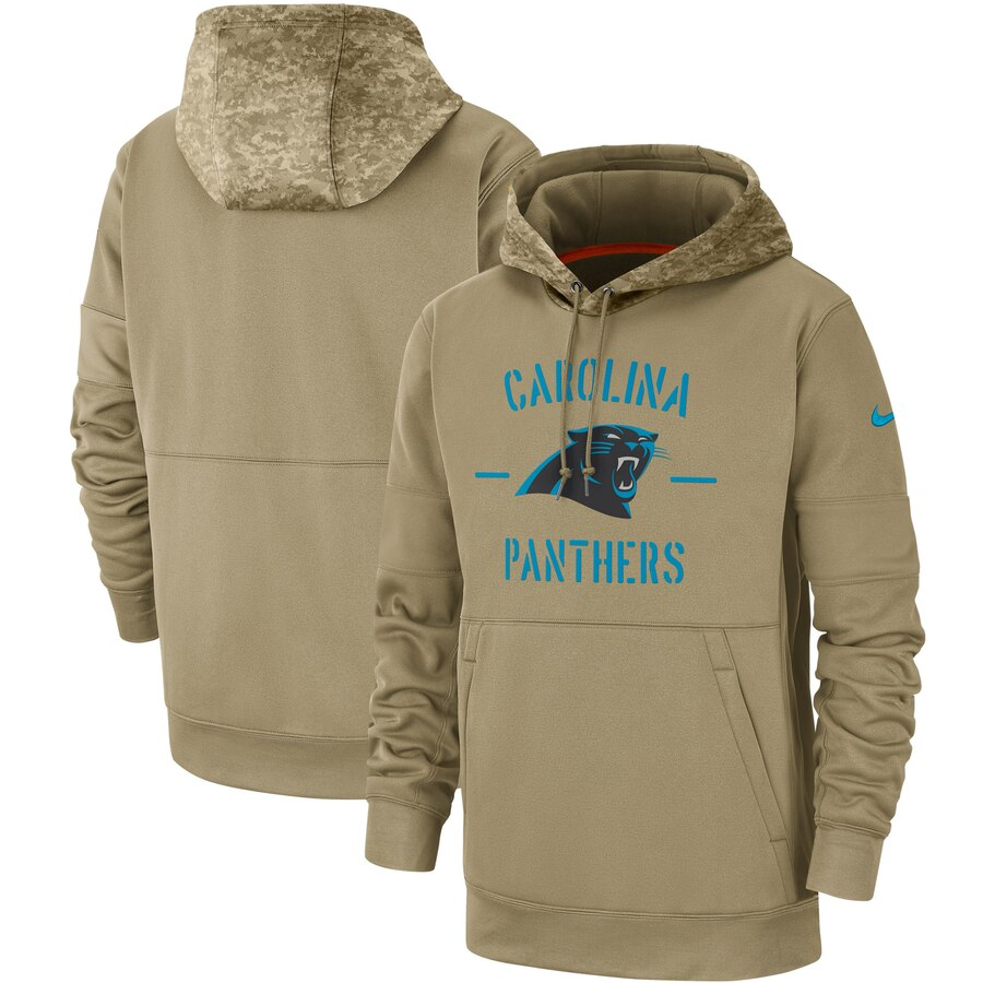 Men's Carolina Panthers Nike Tan 2019 Salute to Service Sideline Therma Pullover Hoodie