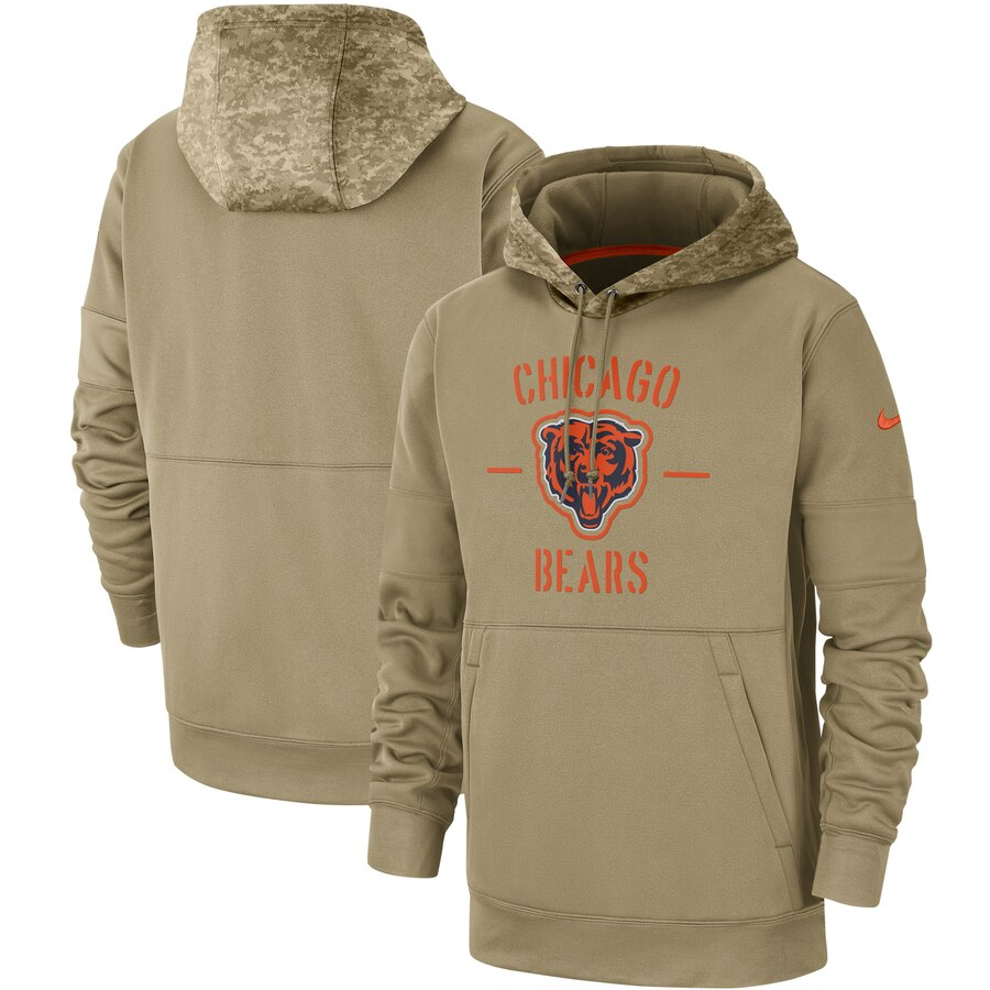 Men's Chicago Bears Nike Tan 2019 Salute to Service Sideline Therma Pullover Hoodie