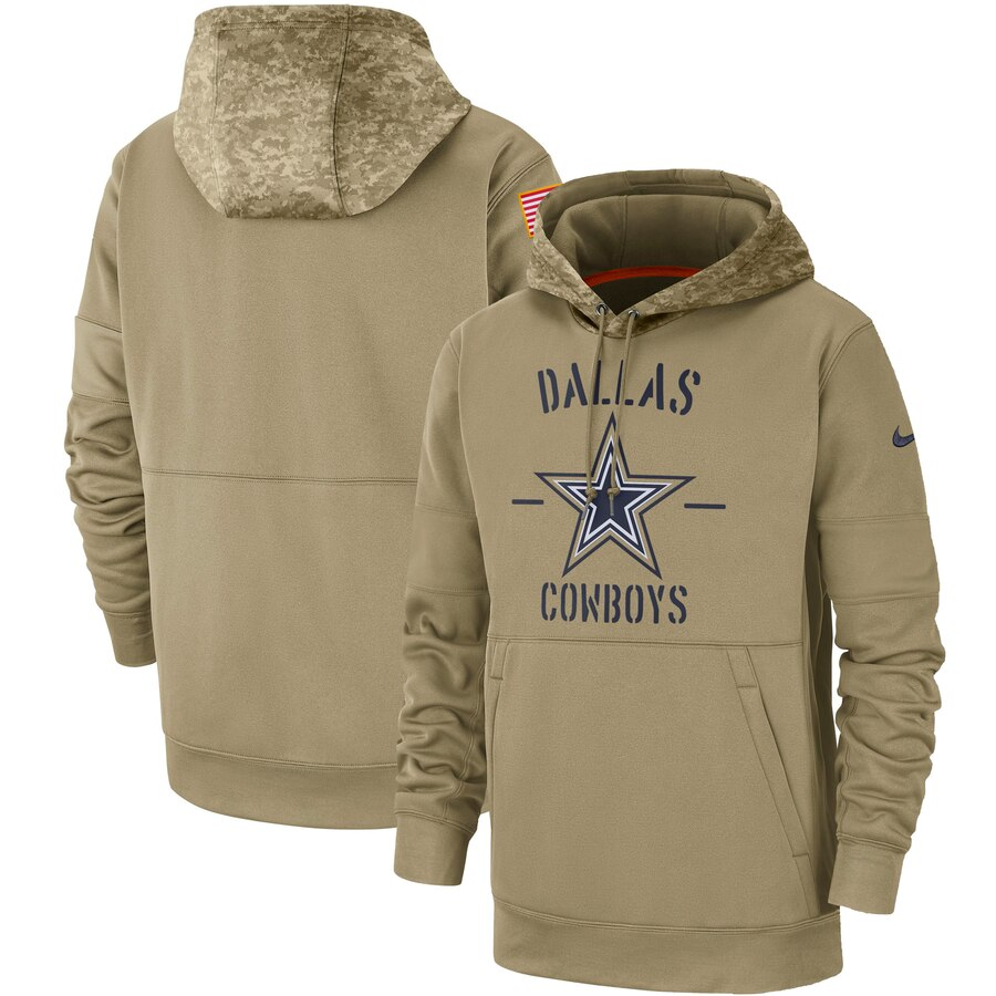 Men's Dallas Cowboys Nike Tan 2019 Salute to Service Sideline Therma Pullover Hoodie