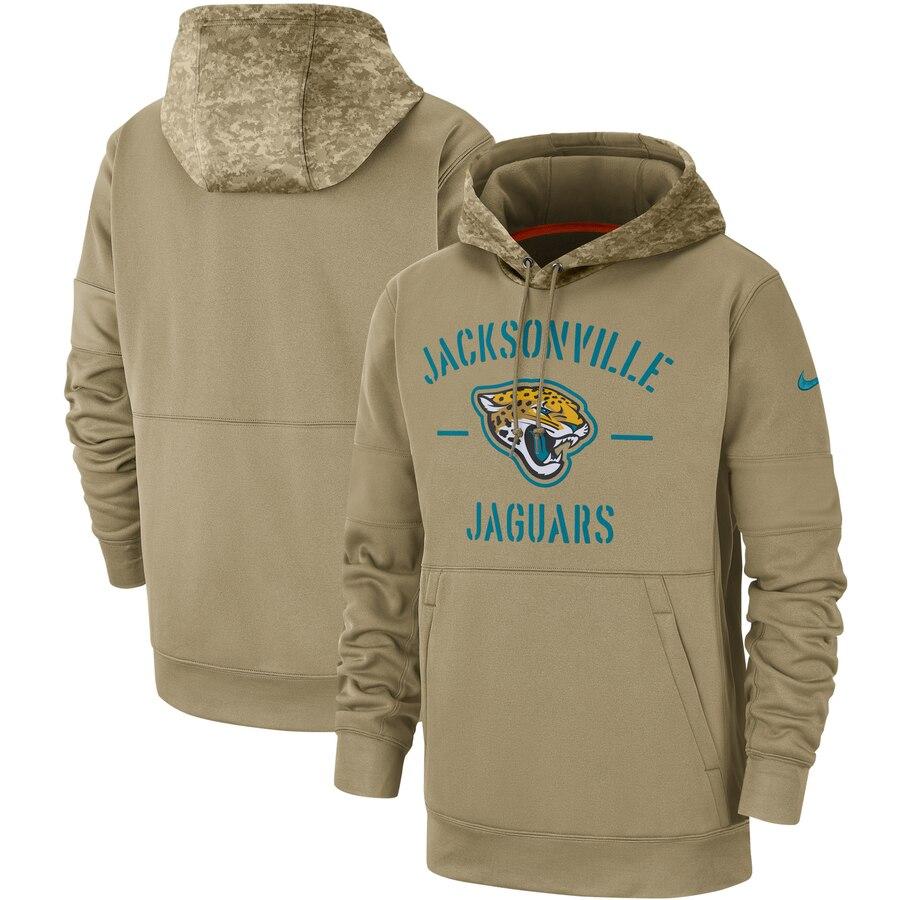 Men's Jacksonville Jaguars Nike Tan 2019 Salute to Service Sideline Therma Pullover Hoodie