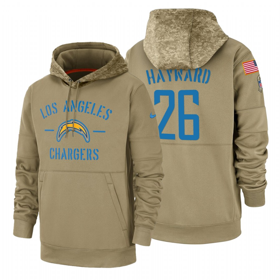 Los Angeles Chargers #26 Casey Hayward Nike Tan 2019 Salute To Service Name & Number Sideline Therma Pullover Hoodie