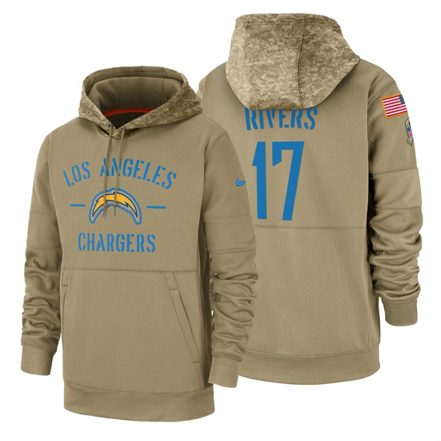 Los Angeles Chargers #17 Philip Rivers Nike Tan 2019 Salute To Service Name & Number Sideline Therma Pullover Hoodie