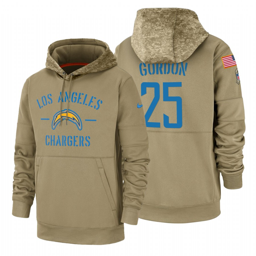Los Angeles Chargers #25 Melvin Gordon Nike Tan 2019 Salute To Service Name & Number Sideline Therma Pullover Hoodie