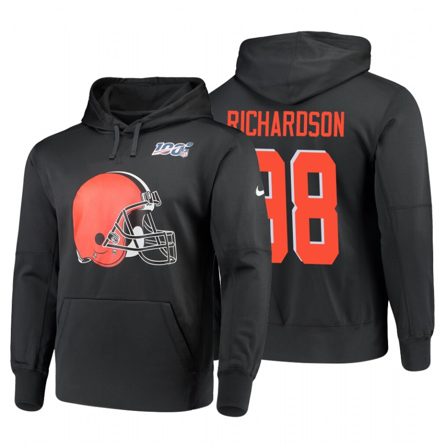 Cleveland Browns #88 Sheldon Richardson Nike NFL 100 Primary Logo Circuit Name & Number Pullover Hoodie Anthracite