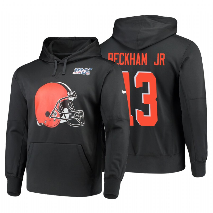 Cleveland Browns #13 Odell Beckham Jr. Nike NFL 100 Primary Logo Circuit Name & Number Pullover Hoodie Anthracite