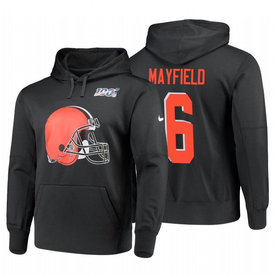Cleveland Browns #6 Baker Mayfield Nike NFL 100 Primary Logo Circuit Name & Number Pullover Hoodie Anthracite