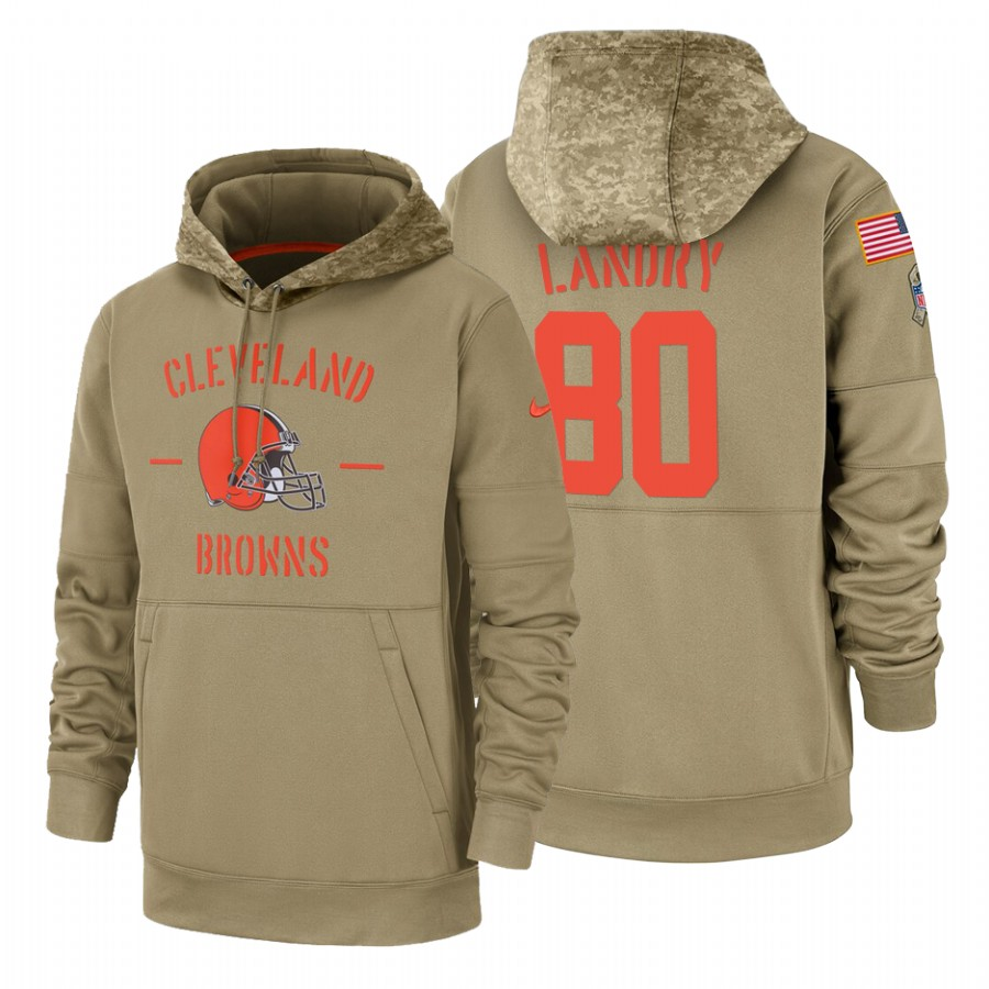 Cleveland Browns #80 Jarvis Landry Nike Tan 2019 Salute To Service Name & Number Sideline Therma Pullover Hoodie