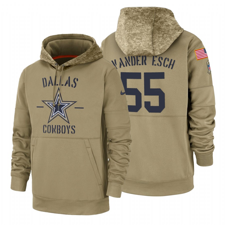 Dallas Cowboys #55 Leighton Vander Esch Nike Tan 2019 Salute To Service Name & Number Sideline Therma Pullover Hoodie