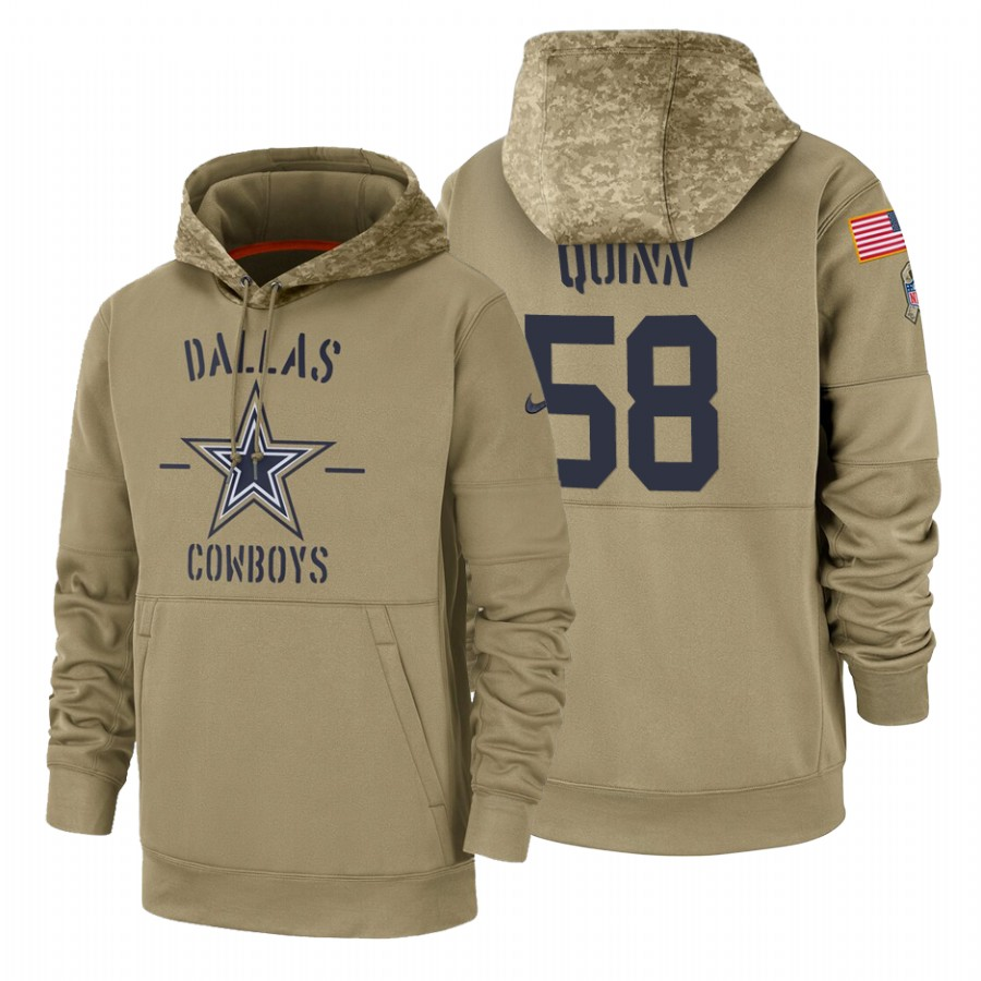 Dallas Cowboys #58 Robert Quinn Nike Tan 2019 Salute To Service Name & Number Sideline Therma Pullover Hoodie