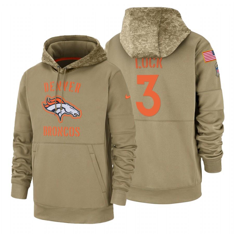 Denver Broncos #3 Drew Lock Nike Tan 2019 Salute To Service Name & Number Sideline Therma Pullover Hoodie