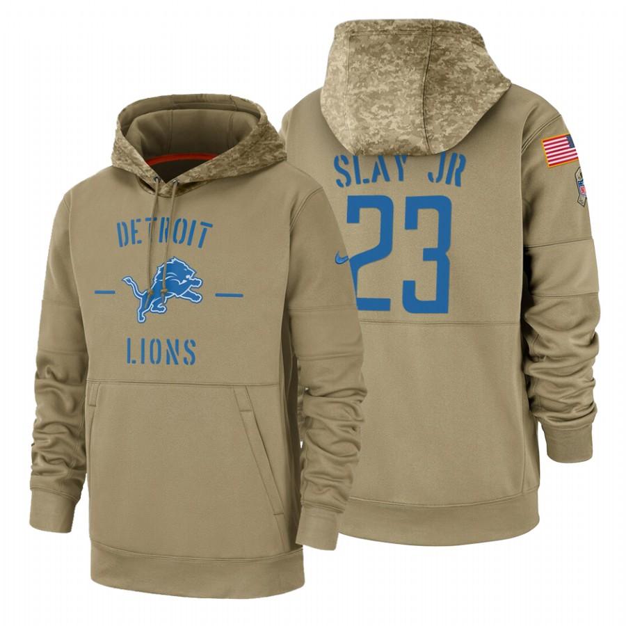 Detroit Lions #23 Darius Slay Jr Nike Tan 2019 Salute To Service Name & Number Sideline Therma Pullover Hoodie