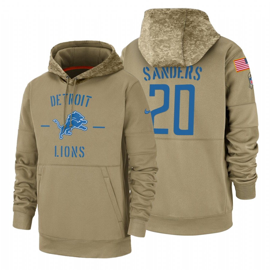 Detroit Lions #20 Barry Sanders Nike Tan 2019 Salute To Service Name & Number Sideline Therma Pullover Hoodie