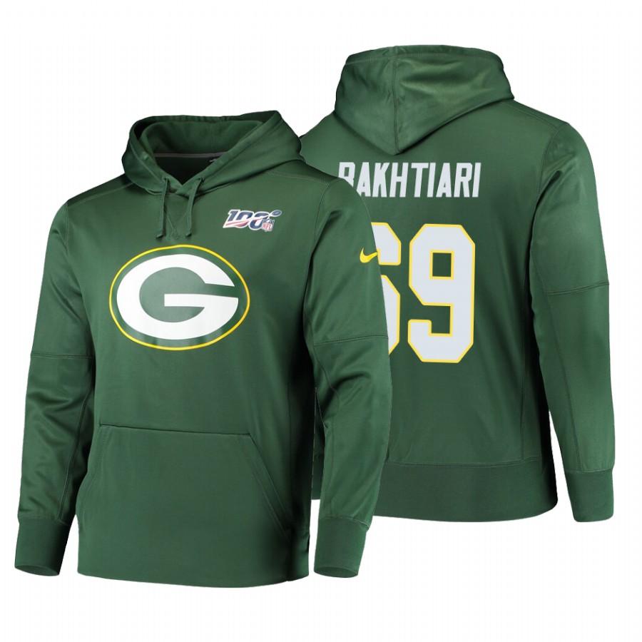 Green Bay Packers #69 David Bakhtiari Nike NFL 100 Primary Logo Circuit Name & Number Pullover Hoodie Green