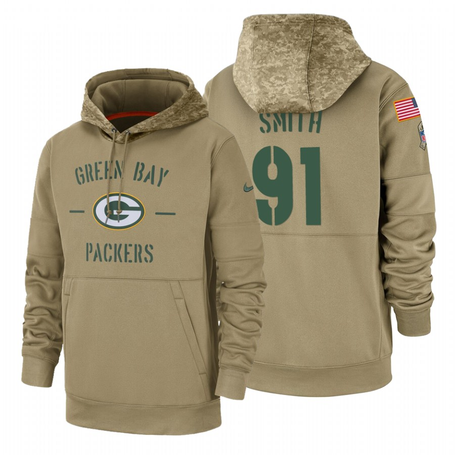 Green Bay Packers #91 Preston Smith Nike Tan 2019 Salute To Service Name & Number Sideline Therma Pullover Hoodie