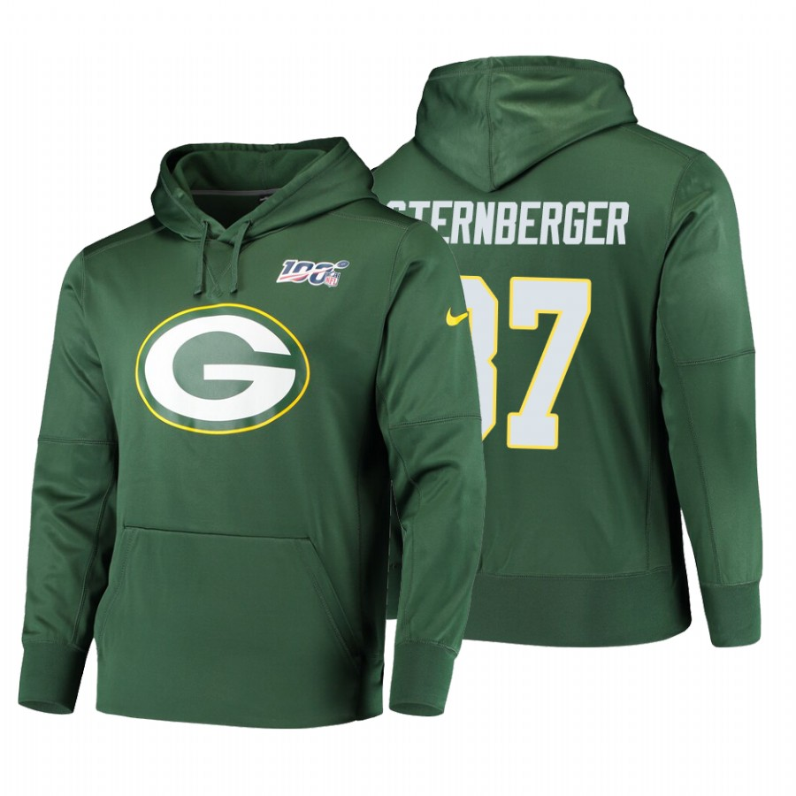 Green Bay Packers #87 Jace Sternberger Nike NFL 100 Primary Logo Circuit Name & Number Pullover Hoodie Green