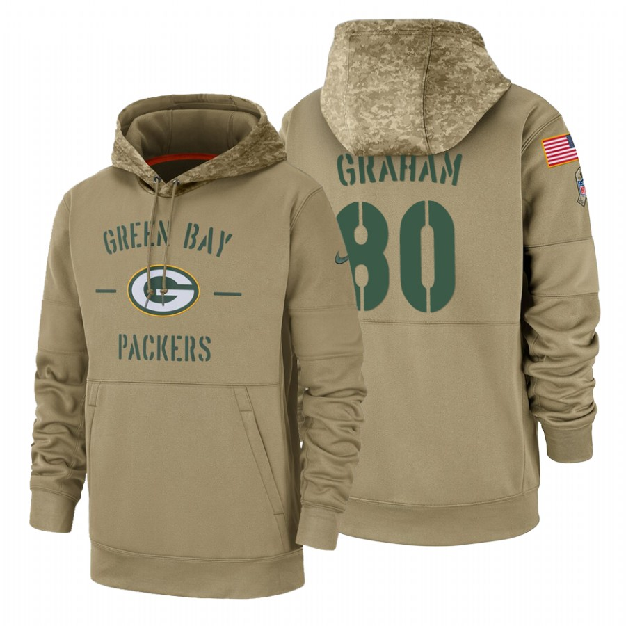 Green Bay Packers #80 Jimmy Graham Nike Tan 2019 Salute To Service Name & Number Sideline Therma Pullover Hoodie