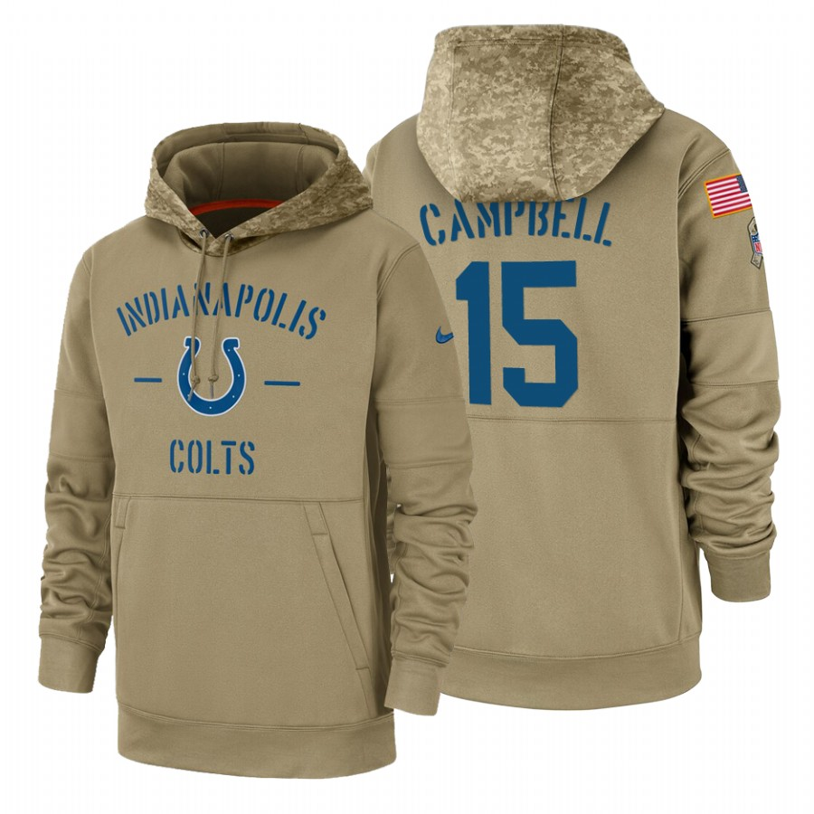 Indianapolis Colts #15 Parris Campbell Nike Tan 2019 Salute To Service Name & Number Sideline Therma Pullover Hoodie