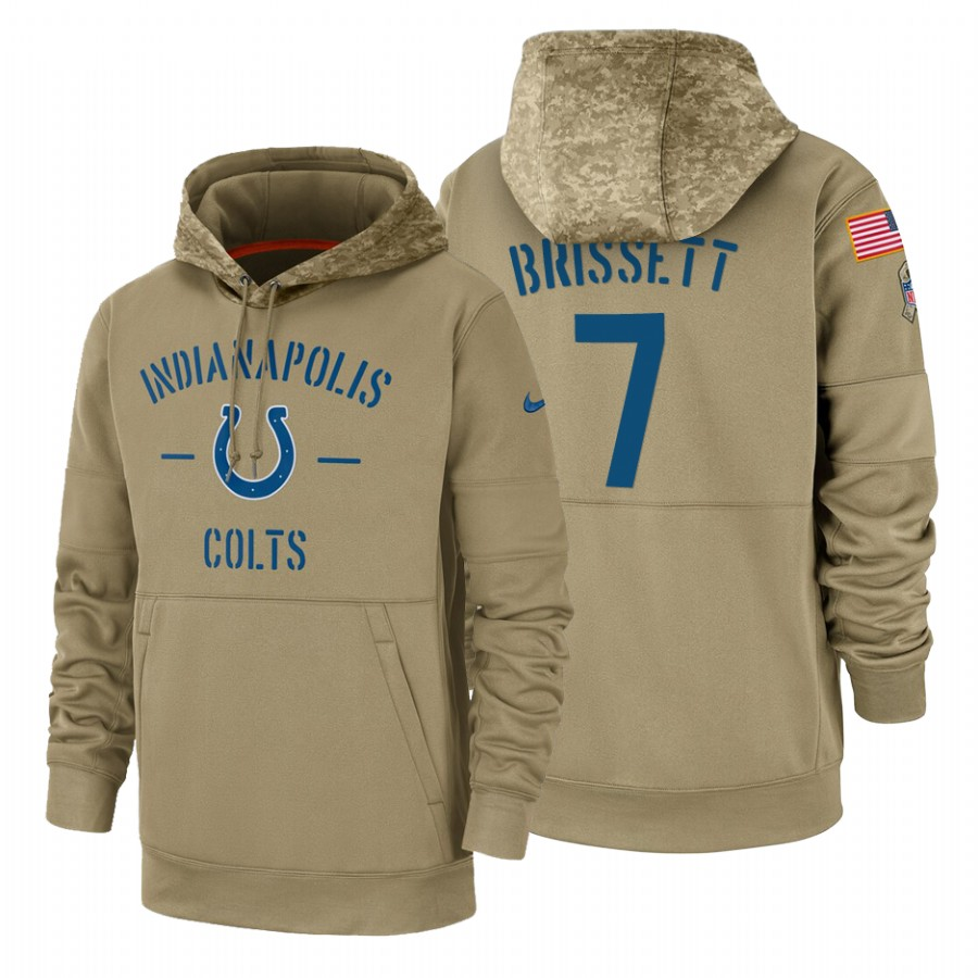 Indianapolis Colts #7 Jacoby Brissett Nike Tan 2019 Salute To Service Name & Number Sideline Therma Pullover Hoodie